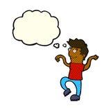 glücklicher Mann der Karikatur, der lustigen Tanz mit Gedankenblase tut Lizenzfreie Stockfotografie