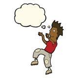 glücklicher Mann der Karikatur, der lustigen Tanz mit Gedankenblase tut Stockbild