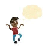 glücklicher Mann der Karikatur, der lustigen Tanz mit Gedankenblase tut Lizenzfreies Stockbild