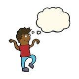 glücklicher Mann der Karikatur, der lustigen Tanz mit Gedankenblase tut Lizenzfreies Stockfoto