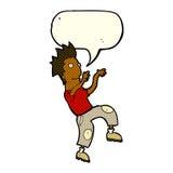 glücklicher Mann der Karikatur, der lustigen Tanz mit Spracheblase tut Lizenzfreie Stockbilder
