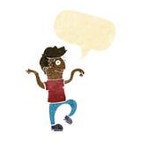 glücklicher Mann der Karikatur, der lustigen Tanz mit Spracheblase tut Stockfotos