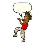 glücklicher Mann der Karikatur, der lustigen Tanz mit Spracheblase tut Stockbilder