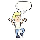 glücklicher Mann der Karikatur, der lustigen Tanz mit Spracheblase tut Lizenzfreie Stockfotos