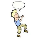 glücklicher Mann der Karikatur, der lustigen Tanz mit Spracheblase tut Stockfotografie