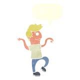 glücklicher Mann der Karikatur, der lustigen Tanz mit Spracheblase tut Lizenzfreies Stockfoto