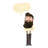 glücklicher Mann der Karikatur mit Bart mit Spracheblase Stockfoto