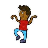 glücklicher Mann der komischen Karikatur, der lustigen Tanz tut Stockbild