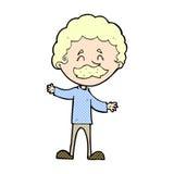 glücklicher Mann der komischen Karikatur mit dem Schnurrbart Lizenzfreie Stockfotos