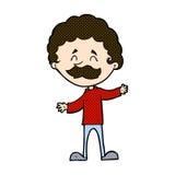 glücklicher Mann der komischen Karikatur mit dem Schnurrbart Lizenzfreie Stockfotografie