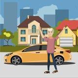 Glücklicher Mann, der nahes Auto steht Lizenzfreie Stockbilder