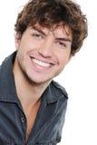 Glücklicher Mann mit den gesunden weißen Zähnen stockbilder