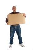 Glücklicher Mann mit einem Kasten Stockfotos