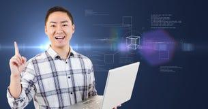 Glücklicher Mann mit Laptop in seinen Händen gegen futuristisches intreface Stockfotografie