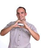 Glücklicher Mann mit Schwangerschaftstest Stockbilder