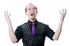 Glücklicher Mann mit seinen Armen angehoben Stockbilder