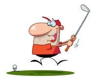 Glücklicher Mann schwingt Golfclub lizenzfreie abbildung