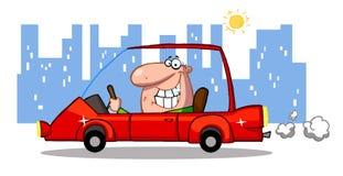 Glücklicher Mann treibt Sport-Auto in der Stadt an Stockfotos