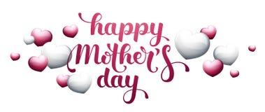 Glücklicher Mother's-Tag mit Herzen Lizenzfreie Stockfotos