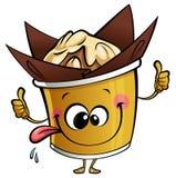 Glücklicher Muffincharakter des Karikaturkleinen kuchens, der eine perfekte Geste macht Lizenzfreies Stockbild