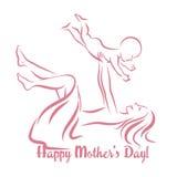 Glücklicher Mutter`s Tag Mutterschaft und Kindheit Stock Abbildung