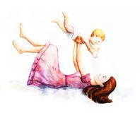 Glücklicher Mutter`s Tag Mutterschaft und Kindheit Farbige Illustration Stock Abbildung
