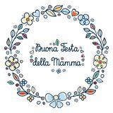 Glücklicher Mutter`s Tag Rundes Blumenfeld italienisch Lizenzfreie Stockbilder