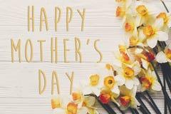 Glücklicher Mutter ` s Tagestext flache Lage des Frühlinges mit Blumennarzissen Stockfoto