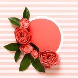 Glücklicher Mutter-Tag, der Tag der Frauen, Valentinsgruß-Tag oder Geburtstag Coral Pantone Color Background lebend Korallenrote  lizenzfreie stockfotografie