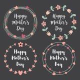 Glücklicher Mutter-Tag mit Blumengruß-Kartensatz Lorbeerkranz, Blumenkranz Auch im corel abgehobenen Betrag lizenzfreie abbildung