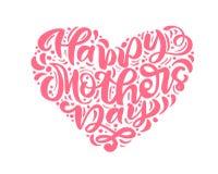 Glücklicher Mutter-Tag rosa Vektorkalligraphietext in der Form des Herzens beschriftend Moderne Beschriftungsphrase Beste Illustr lizenzfreie abbildung