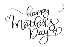 Glücklicher Mutter-Tagesvektorweinlesetext auf weißem Hintergrund Kalligraphiebeschriftungsillustration EPS10 stock abbildung