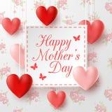 Glücklicher Muttertag mit Blumenhintergrund stockbild