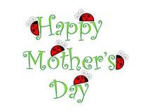 Glücklicher Muttertag mit Marienkäfern Stockfotos