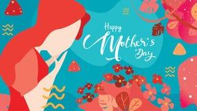 Glücklicher Muttertag! Nahes hohes Porträt der jungen Schönheit attraktiv mit Tulpenblumen Dekorativer Hintergrund Auch im corel  stock abbildung