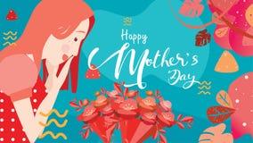 Glücklicher Muttertag! Nahes hohes Porträt der jungen Schönheit attraktiv mit Tulpenblumen Dekorativer Hintergrund Auch im corel  lizenzfreie abbildung