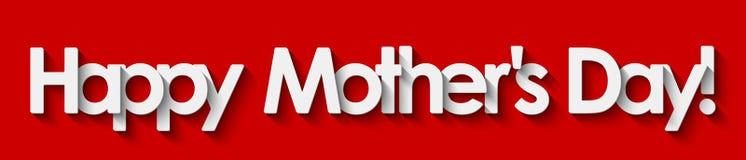 Glücklicher Muttertag! Weiße Beschriftung lokalisiert auf rotem Hintergrund vektor abbildung