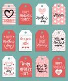 Glücklicher Muttertagesvektorsatz Tags, Aufkleber Grußkarten-Illustrationssammlung Handbeschriftungs-Feiertagshintergrund Stockfotos