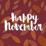 Glücklicher November, kalligraphische Vektoraufschrift stockbilder