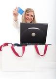 Glücklicher Onlinekäufer Lizenzfreies Stockbild