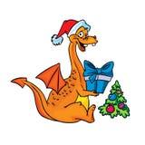Glücklicher orange Drache mit Weihnachtsgeschenk stock abbildung