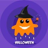 Glücklicher orange Geist auf der purpurroten Schicht Halloween-Vektorbild Stockbild