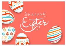 Glücklicher Ostereirahmen mit Text stockbilder