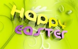 Glücklicher Ostern 3d Text und florals Stockfotografie
