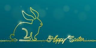 Glücklicher Ostern-Fahnenhintergrund im einfachen Gold eine Linie Art mit dem Glanzhäschen, Text, Funkelnpartikel und Kopie grüße lizenzfreie abbildung