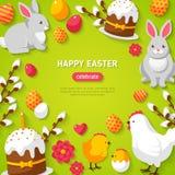 Glücklicher Ostern-Grün Hintergrund Stockbild