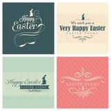 Glücklicher Ostern-Grußkartensatz Stockfotos