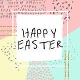 Glücklicher Ostern-Grußkartensatz mit nettem Häschen und goldener Funkelnbeschaffenheit lizenzfreie abbildung