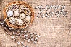 Glücklicher Ostern-Hintergrund mit Eiern in einem Korb und in einer Pussyweide lizenzfreies stockfoto