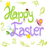 Glücklicher Ostern-Kalligraphietext mit Frühlingsdesign stock abbildung